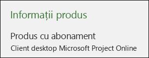 Informațiile despre proiect pentru clientul desktop Project Online