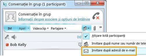 Invitare după adresă de e-mail