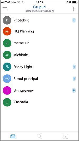 Ecranul de pornire a grupurilor pentru dispozitive mobile