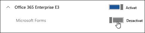 Comutare pentru a activa sau dezactiva caracteristica Microsoft Forms