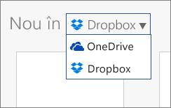 Imagine care afișează Dropbox adăugat la locurile unde puteți crea fișiere noi în Office Online