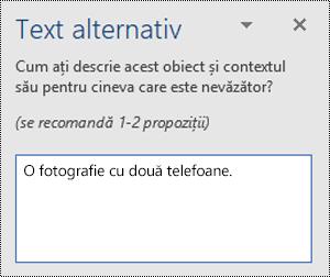 Un exemplu de text alternativ slab în Word pentru Windows.