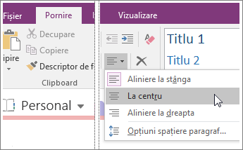 Captură de ecran cu butonul Aliniere paragraf din OneNote 2016.