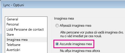 Captură de ecran a secțiunii casetei de dialog Opțiuni pentru Imaginea mea, afișând selectată opțiunea Ascunde imaginea mea