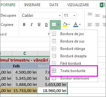 adăugarea unei borduri la un tabel sau la o zonă de date