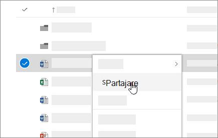 Captură de ecran cu meniul de comenzi rapide din OneDrive pentru business online.