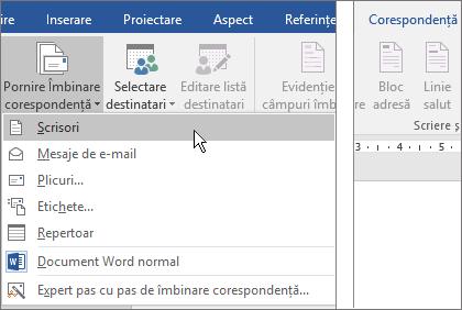 În Word, pe fila corespondență, alegeți pornire îmbinare corespondență, apoi alegeți o opțiune.