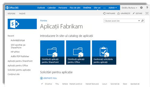 Captură de ecran cu pagina de pornire a unui site Catalog de aplicații.