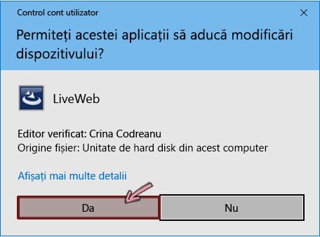 Permiteți ca programul de completare să efectueze modificări pe dispozitivul dvs.