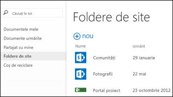 Selectați Foldere de site în bara de acțiune rapidă din Office 365 pentru a vedea lista de site-uri SharePoint Online pe care le urmăriți.