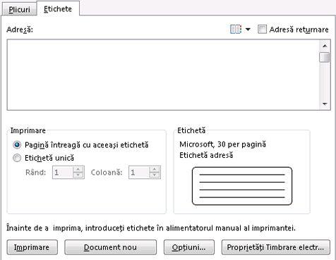 Opțiunile de configurare Plicuri și etichete