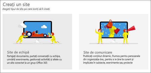 Alegerea de două șabloane de nivel superior, site-ul echipei sau comunicații.