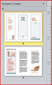 Broșură cu trei fețe formată din două pagini, afișată în panoul de navigare din Publisher 2010