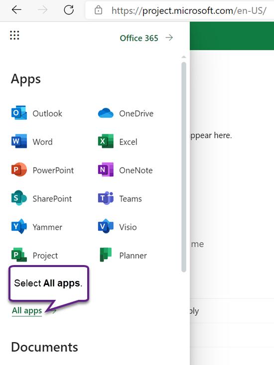 Meniul de aplicații Office