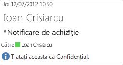 E-mail marcat drept Confidențial