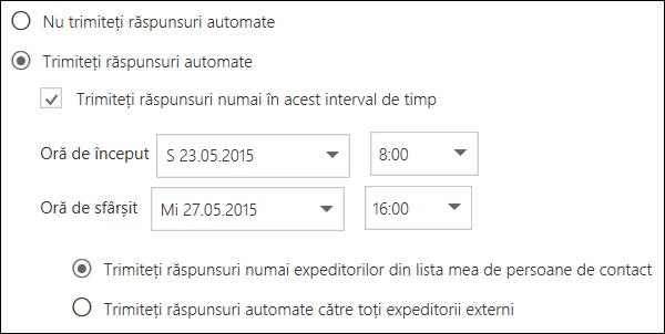 Outlook pe web - Răspunsuri automate, Setare oră
