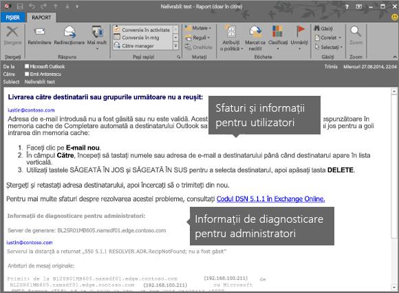 NDR afișând informații de diagnosticare pentru utilizator și administrator