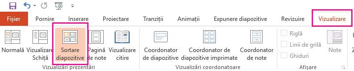 Pe fila vizualizare, faceți clic pe diapozitive.