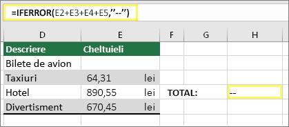 """Celula H4 cu =IFERROR(E2+E3+E4+E5,""""--"""")"""