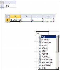 Crearea formulelor în moduri diferite