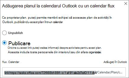 Captură de ecran a casetei de dialog Adăugare plan la calendarul Outlook
