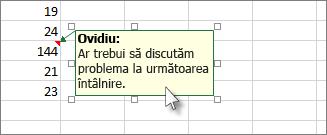 Faceți clic pe bordura casetei de comentarii pentru a o muta sau a o redimensiona