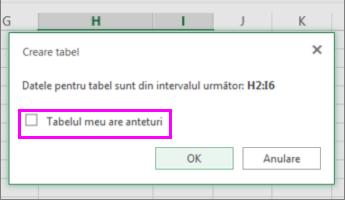 Casetă de dialog pentru conversia unei zone de date într-un tabel