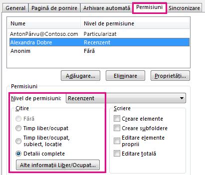 Fila permisiunilor de partajare calendar în Outlook 2013