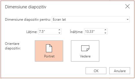 În caseta de dialog Dimensiune diapozitiv, puteți alege între un raport de aspect standard sau în ecran lat și puteți alege între orientarea vedere și cea portret.