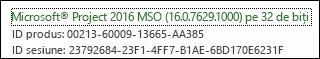 Numărul de compilare pentru clientul desktop Project Online