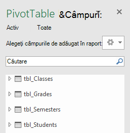 Lista de câmpuri PivotTable Power Pivot