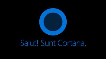"""Pictograma Cortana, așa cum se vede pe ecran, cu cuvintele """"Salut. Sunt Cortana """"sub pictogramă."""