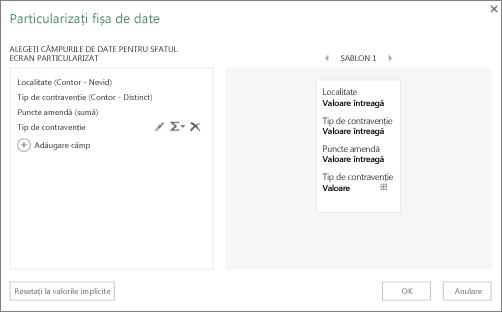 Caseta de dialog Particularizați cartela de date