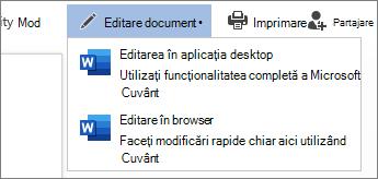 Selectați Editare în Browser pentru a edita în Word Web App