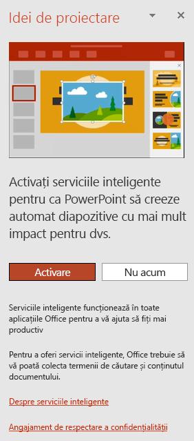 Afișează mesajul inițial care apare atunci când se invocă PowerPoint Designer