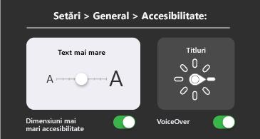Accesibilitate generală: text mai mare și setări VoiceOver
