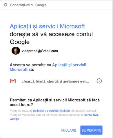 Afișarea ferestrei de permisiuni pentru ca Outlook să vă acceseze contul Gmail