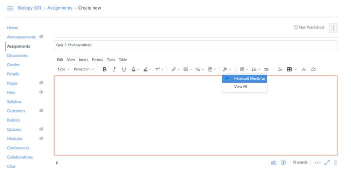 Pictograma Insert de alimentare cu lista verticală pentru a vă conecta la OneDrive