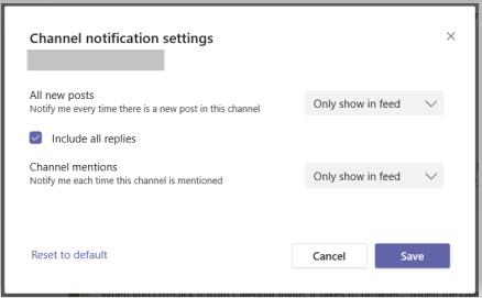 Imagine a setărilor de notificare a canalului.