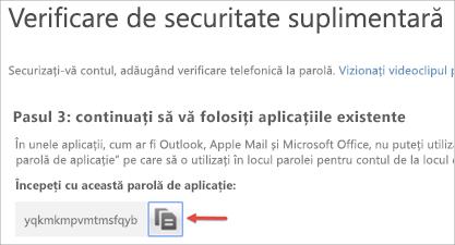 Imagine cu pictograma de copiere pentru a copia parola aplicației în clipboard.
