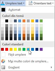 Alegerea unei culori de umplere pentru text