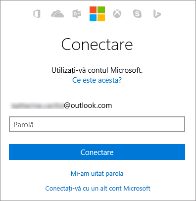 Captură de ecran care arată ecranul de conectare la contul Microsoft