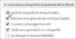 Caseta de selectare Verificarea ortografiei în timpul tastării