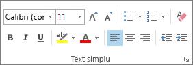 Opțiunile din grupul Text simplu