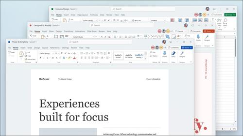 Word, Excel și PowerPoint cu actualizări vizuale în panglică și colțuri rotunjite, pentru a corespunde Windows 11 a utilizatorului.