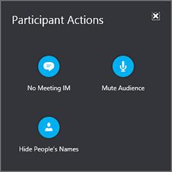 Selectați Participant acțiuni pentru a opri sonorul toată lumea, ascundeți numele persoanelor sau dezactivați fereastra IM.