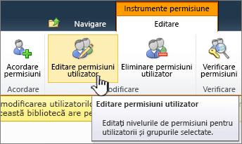 Editare permisiuni utilizator