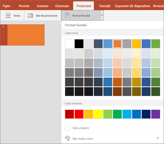 Afișează opțiunile de formatare fundal pe fila proiectare din PowerPoint.