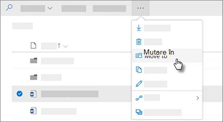 Captură de ecran a mutare la comanda în OneDrive pentru Business
