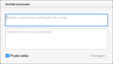 Introduceți nume din persoane de contact sau adrese de e-mail pentru a trimite invitații destinatarilor.